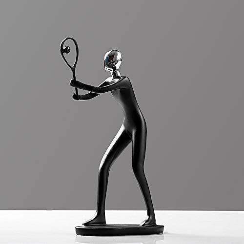 SMAQZ Fernsehkabinett-Handwerks-Zahl Dekoration - Einfacher Inneneinrichtung-Tennis-Spieler 25 * 12Cm