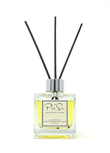 PriSu Premium Weißer Lavendel ätherisches Öl Schilfhalme Diffuser Geschenkset, Formschöne Glasflasche, Schilfhalme aus Rattan, Natürlicher Duft, langanhaltend (4+ Monate) für Aromatherapie und Lufterfrischer - 112ml