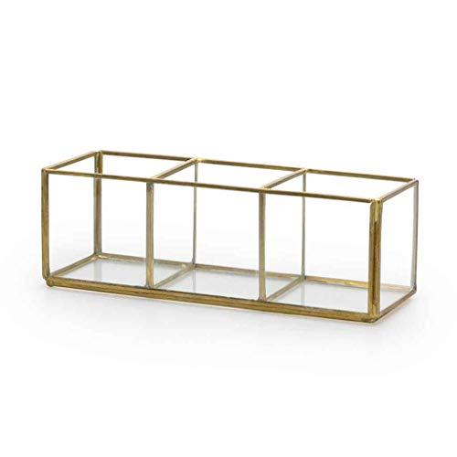Black Velvet Studio Deko-Box Retro Glas und verchromt, Color transparent und Gold. Box 3 Löcher. Nordic und Retro-Stil. 7x20x7 cm. (Gold Black Gläser)