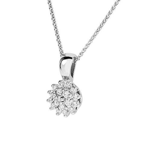 Diamond Line Goldkette mit Diamant-Anhänger 585 Weißgold mit 19 Brillianten 0.25 ct. lupenrein