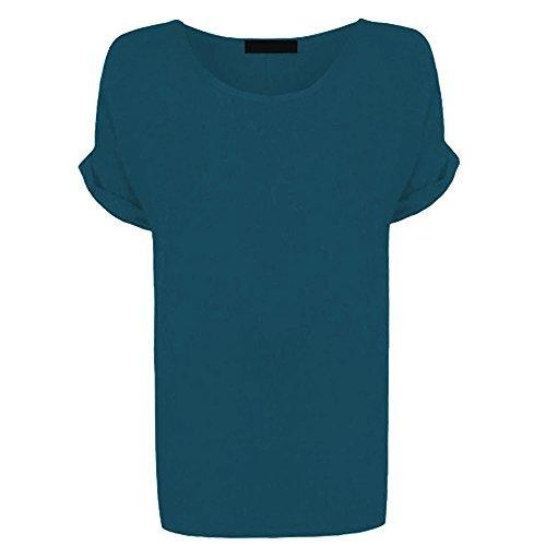Re Tech UK Femmes Grande Taille Compatible avec Haut Col Rond Femmes Bouffant Grande Taille Manches Chauve-Souris Manche Revers T-Shirt Occasionnel Tailles 8-26 Sarcelle