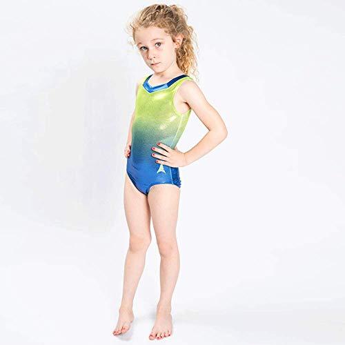 Turnanzug Glow Activewear Wettkampfanzug, Allmähliche Änderung der Farbe Ärmellose Kleidung, für Frauen & Mädchen (Customize,Lemon Gradient) (Farbe änderung Saphir)
