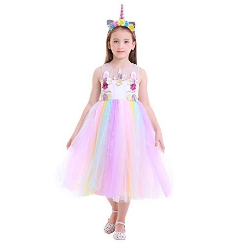 OBEEII Mädchen Einhorn Kostüm Weihnachten Allerheilige Karneval Geburtstag Geschenk Baby Kinder Prinzessin Kleid Regenbogen 4-5 - Regenbogen Prinzessin Kind Kostüm