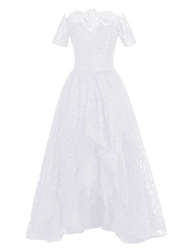 Dresstells Damen Asymmetrie Lang Promi-Kleider Bateau Lace Party Kleider Abendkeleider Weiß
