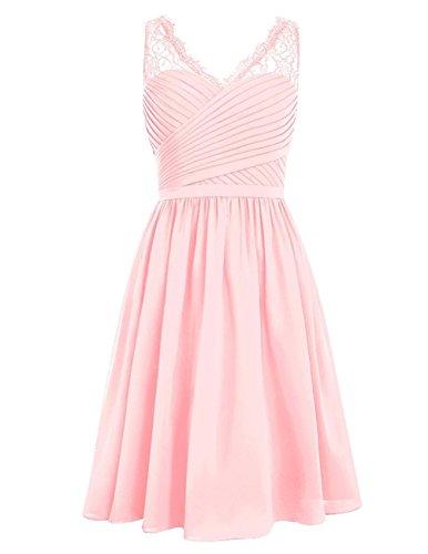 HUINI Brautjungfernkleider Kurz Chiffon Ballkleider Damen Abendkleider Cocktailkleider Partykleider Spitze V-Ausschnitt Pink 54