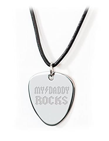 Personalised Guitar Plectrum / Pick Leather Necklace MY DADDY ROCKS LOGO - REVERSE (Groom Strumento)