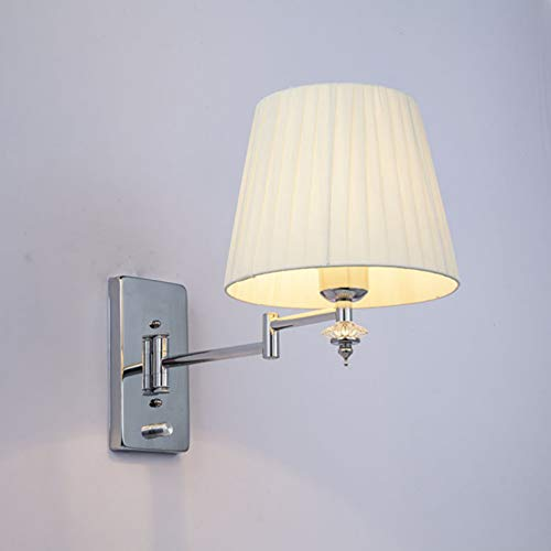 TYOLOMZ Cristal Moderno balancín telescópico Ajustable lámpara de Pared de una Sola Cabeza LED Tela...