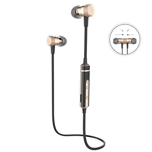 Picun H6 Bluetooth Ohrhörer, Kabelloser Bluetooth Kopfhörer, Bluetooth V 4.1 mit Mikrofon, Lautstärkeregler, Ergonomische Ohrstöpsel für Sport, Smartphones, Tablets und anderen Bluetooth-fähige Geräten (Schwarz/Gold)