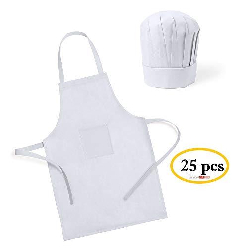 Publiclick Lote 25 Delantales + Gorros Cocina Infantiles