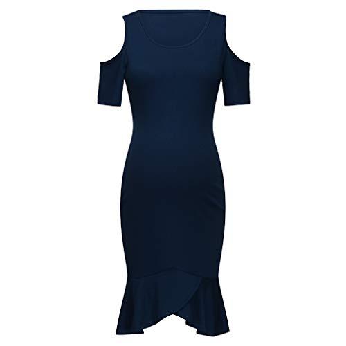WUSIKY Umstandskleid, Damen Mama Schwangere Still Stillende Rüschen Kurzarm Kleid Pflege Sommerkleid Sexy Strandkleid Lose Elegante Lässige Mode Kleid 2019 New Damen Kleid(XXL,Dunkelblau)