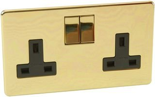 2 GANG 13A SOCKET, POLISHED BRASS 7316/PB By CRABTREE