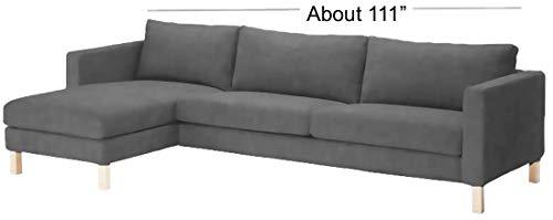 Karlstad Dreisitzer Sofa und Chaise Lounge, dichte Baumwolle, Ersatz IKEA Karlstad Schonbezug Cotton Dark Gray