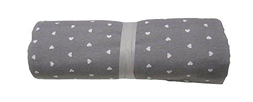 Grandfoulard - telo copritutto - copridivano - copriletto- tendaggio col. grigio mod. cuoricini 260x280 cm