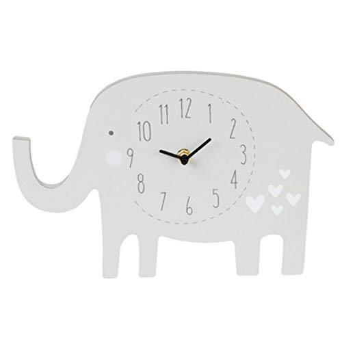 Les Trésors De Lily [Q2086 - Horloge Enfant Bois 'Elephant' Blanc - 20 cm