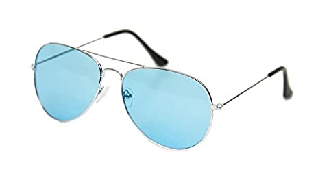 ASVP Shop Sonnenbrille im Pilotendesign, Unisex, im Retro-Stil der 80er Jahre, UV400, blau