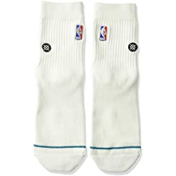 Stance NBA Logoman QTR Calcetines, Hombre, Blanco, Small