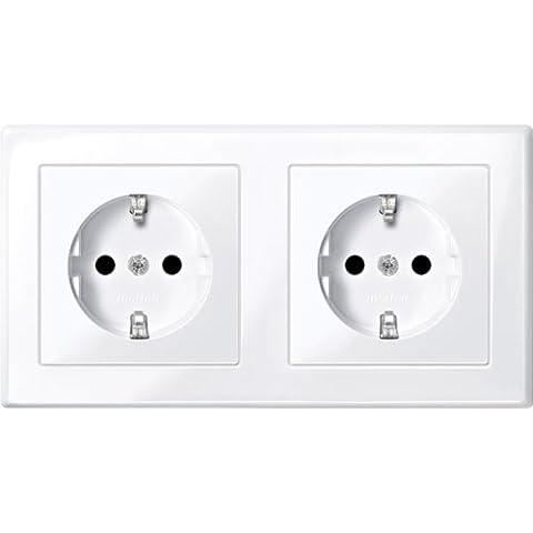 Merten MEG2328Shuko Dual Double Plug Socket–, Brs, Plug-In Terminals, Active White Glossy,