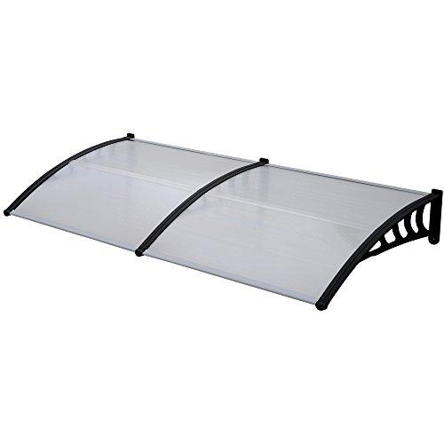 Jalano Vordach schwarz Überdachung Haustürdach Türdach Pultvordach Polycarbonat 5mm mit Profilen , Vordächer:100 x 240 cm, Farbe:schwarz