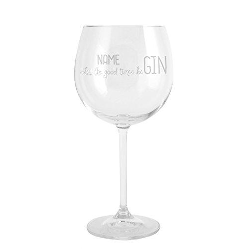 Herz & Heim® Gin & Tonic Glas mit Gravur des Namens - let the good times beGIN