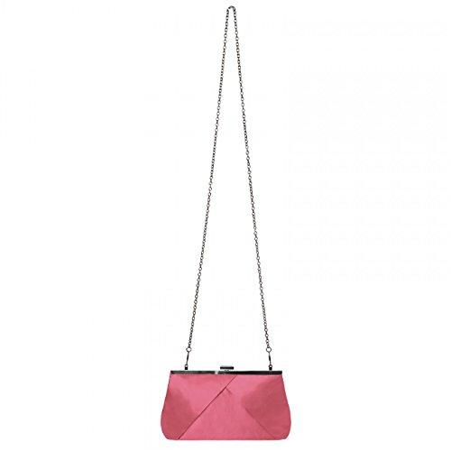 CASPAR klassische Damen Satin Clutch / Abendtasche in stylischem Design - viele Farben - TA320 Koralle