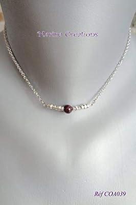 Collier fin délicat ras de cou acier minimaliste : grenat véritable, perles argent tibétain