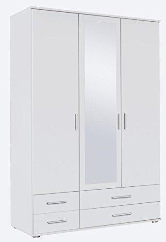 Kleiderschrank weiß 3 Türen B 127 cm/H 188 cm Jugendzimmer Kinderzimmer Schlafzimmer Schrank Wäscheschrank Drehtürenschrank Spiegelschrank