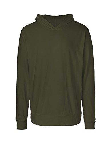 Green Cat Langarm T-Shirt mit Kapuze, Unisex, 100% Bio-Baumwolle. Fairtrade, Oeko-Tex und Ecolabel Zertifiziert Oliv