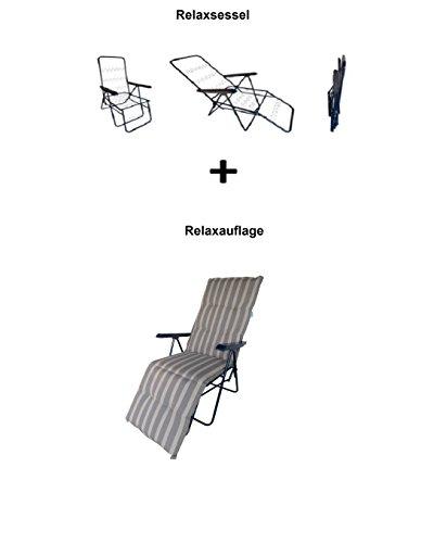 Balke Relaxsessel inklusive Auflage Fulda Rips 67 Stripe Natur - Schlamm, 5-Fach verstellbar, 170 x...