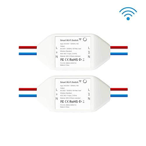 Wifi-Schalter smart-Schalter, Phifree 2-Pack wlan Schalter smart Switch intelligenter Schalter smart Home Switch mit Timer DIY Funkschalter,kompatibel mit Alexa, Google Home und IFTTT