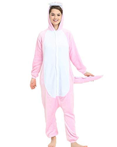 Unisex-Erwachsene Schlafanzug-Einteiler Jumpsuit Tier Pyjama Tierkostüme Schlafoveralls Nachtwäsche Rosa Dinosaurier M(Höhe 153-165cm)