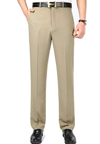 CuteRose Mens Wrinkle Resistant Straight Easy Care Business Classic Dress Pant 7 37 Classic Pleated Chino