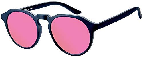 La Optica B.L.M. UV400 CAT 3 Unisex Damen Frauen Sonnenbrille Rund Fashion - Einzelpack Matt Schwarz (Gläser: Pink verspiegelt)