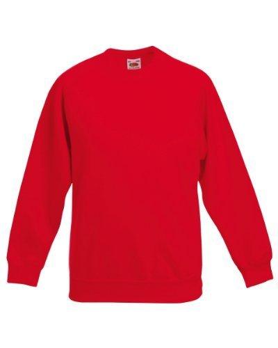 Fruit Of The Loom Childrens Raglan Sleeve Sweatshirt Red 7-8