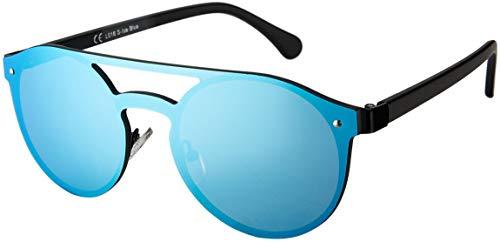 La Optica B.L.M. UV400 CAT 3 CE Unisex Damen Herren Sonnenbrille Rund Rahmenlos - Einzelpack Metal Schwarz (Gläser: Hellblau verspiegelt)