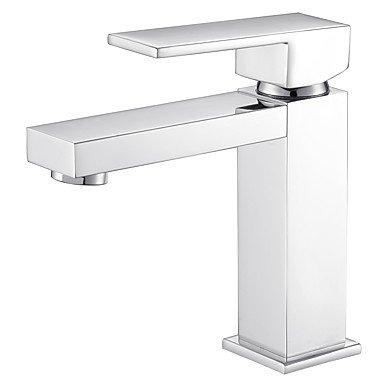 FYios®Moderne/zeitgemäße Deck montiert Einstellbare Temperatur withCeramic Ventil ein Loch forChrome, Badezimmer Waschbecken Wasserhahn (Arch Einstellbare)