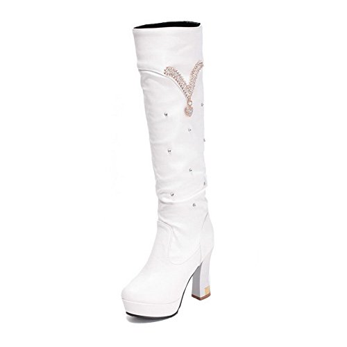 AgooLar Damen Ziehen Auf Pu Leder Hoher Absatz Rund Zehe Stiefel Weiß