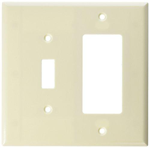 Cooper verkabelungsgeräten Mittelständische Objektbereich Duroplast Toggle und Decorator Combo Wall Plate Light - Plate Wall Light Almond