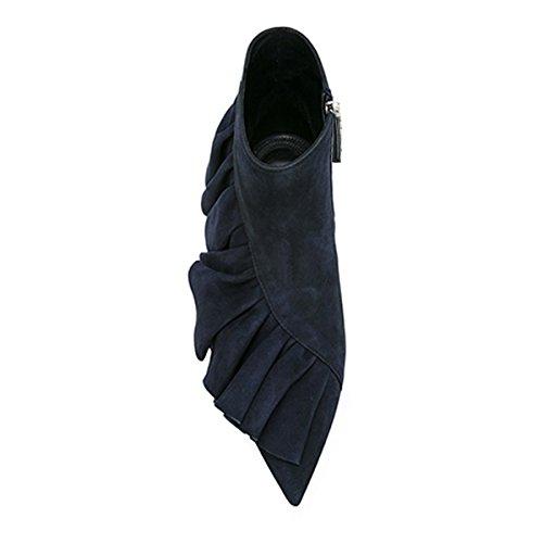 Damenschuhe Pumps Spitze Zehen Fellsamt Fransen Flach Knöchel Schuhe Dunkelblau