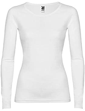 Camiseta básica mujer manga larga - 100% algodón (M, Blanco)