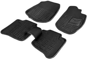 Black 3D Car Foot Mat With Wooden Engraved KeyRing of VeeV Tech for Tata Zest Diesel XT Diesel