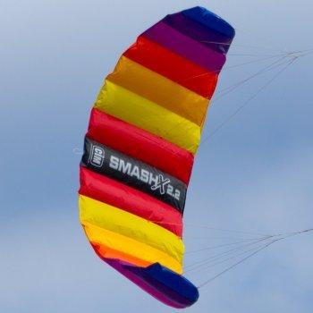 Lenkmatte - SMASHX 2.2 FUN - Kite für leichten bis kräftigen Wind - inkl. Steuerleinen mit Winder und Schlaufen