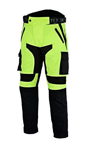 Cargo-chaps (Texpeed - Herren Motorradhose mit CE-Protektoren - wasserdicht - Schwarz & Neongelb - Textil - Alle Größen)