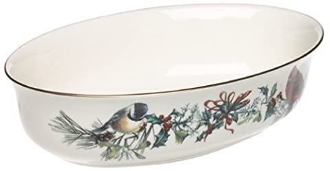 Lenox Winter Greetings Gold-Banded Fine China Large Open Vegetable Bowl by Lenox