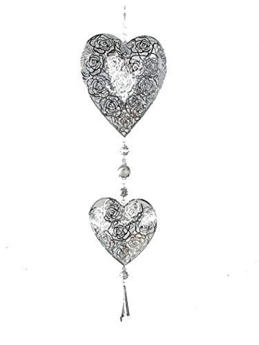Hänger mit 2 Herzen Rose Silber Trend. Hängedekoration für Türen Fenster oder Wand aus Metall Draht 60 cm (Silber)