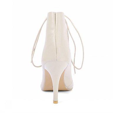 Sandali donna Estate Comfort in cuoio party e abito da sera Casual Stiletto Heel Lace-up Beige Nero Beige