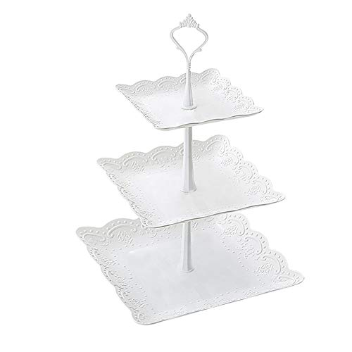 MSYOU Cupcake-Ständer mit 3Etagen, rund, Kunststoff, für Hochzeiten, Geburtstag, Halloween, Weihnachten, Party (weiß), plastik, Quadratisch, 37cm*24cm (3 Halloween Etage)