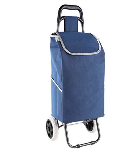 QIANGDA-Handwagen Einkaufstrolley Faltbar Einkaufswagen Mit Eva-Rädern Rolling Utility Cart Leicht Grosse Kapazität Draussen, 6 Farben (Farbe : Dunkelblau)