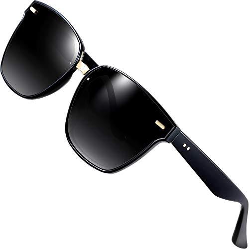 Attcl unisex polarizzate occhiali da sole da uomo donna protezione uv 555-black
