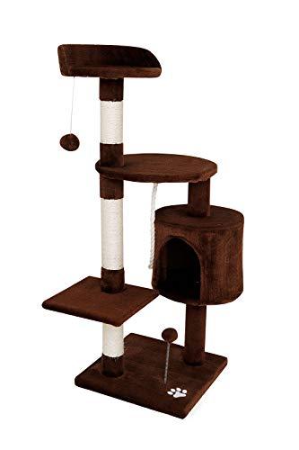 Dibea albero tira graffi giocattolo gatti, marrone - 112 cm