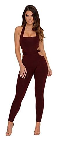 Longwu Womens Sexy Sleeveless Bodysuit Halter Backless Elastic Tight Fitting Sexy Jumpsuit Wine